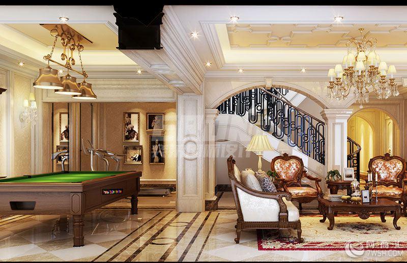 奕荣设计 上海别墅设计独栋欧式/华润中央花园600平效果图  纯熟的设计语言和艺术审美演绎出法式浪漫。空间处理上,吸取了巴洛克艺术的不少特征,并带有浓郁的贵族色彩,精工细作,富含艺术气息  客厅的布局上突出轴线的对称,打造出具有恢宏的气势豪华舒适的会客空间。华美的水晶灯以及低调质感的窗饰软搭更加强化了主体感觉,大面积的自然采光,主光源和辅助光源的变化,丰富了空间感觉,完善了设计平面的层次。整个空间让人感受到真正的人文关怀和无以伦比的奢华高贵。  餐厅的打造同样注意对称细节处理上运用了古典廊柱造型、雕花