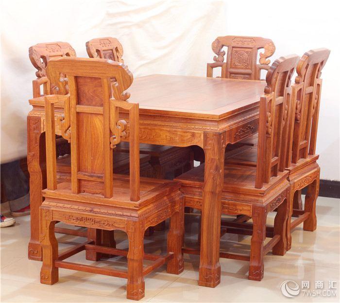 【供应红木餐椅,祥和餐桌7件套