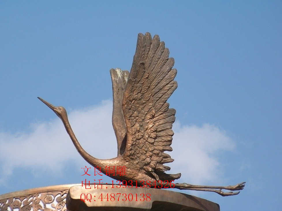 铜景观仙鹤雕像铸造生产